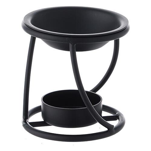 Brûle-encens métal noir spirale bougie 7 cm 2