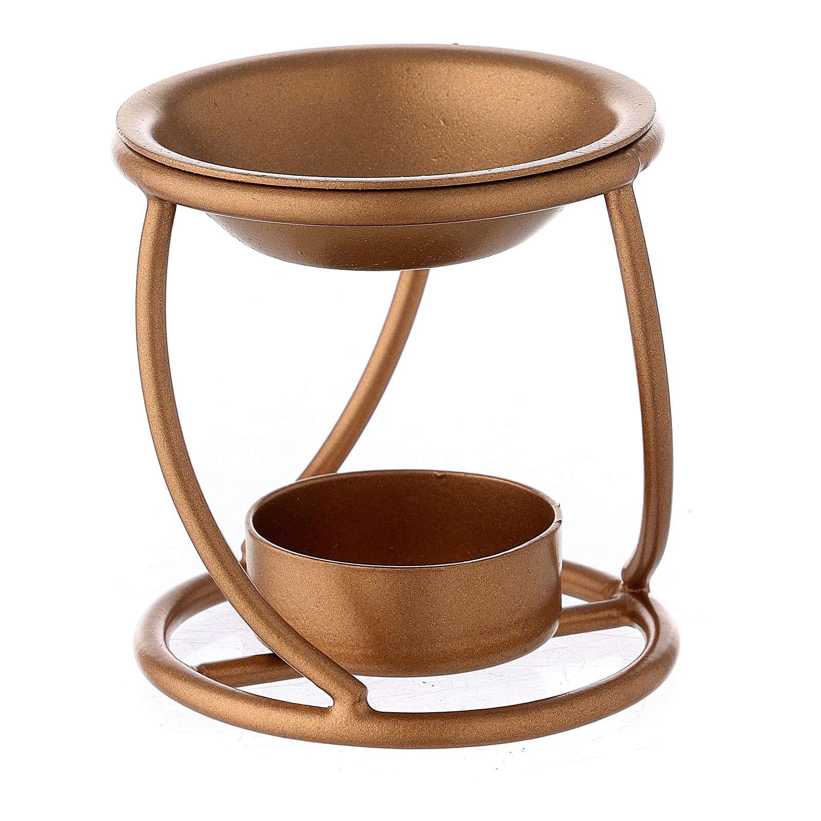 Bruciaincenso ferro dorato spirale candela 7 cm 3