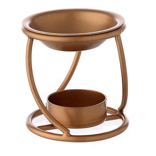 Bruciaincenso ferro dorato spirale candela 7 cm 1