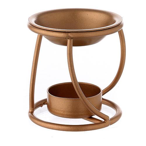Bruciaincenso ferro dorato spirale candela 7 cm 2