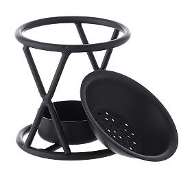 Black metal incense burner with X-shaped structure h 2 3/4 in s3