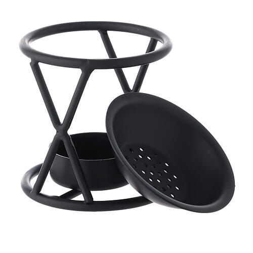 Black metal incense burner with X-shaped structure h 2 3/4 in 3
