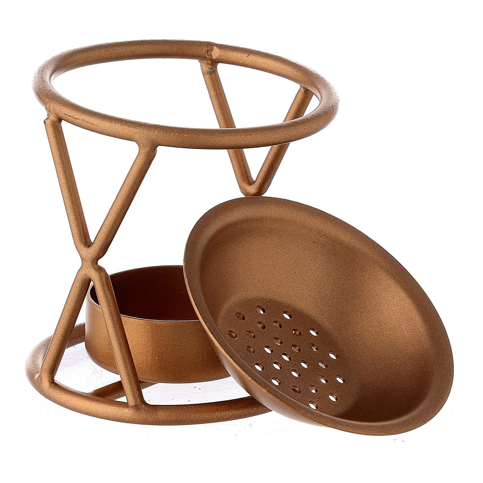 Brûle-encens X métal doré bougie 3