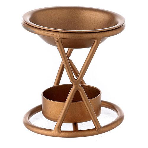 Brûle-encens X métal doré bougie 2