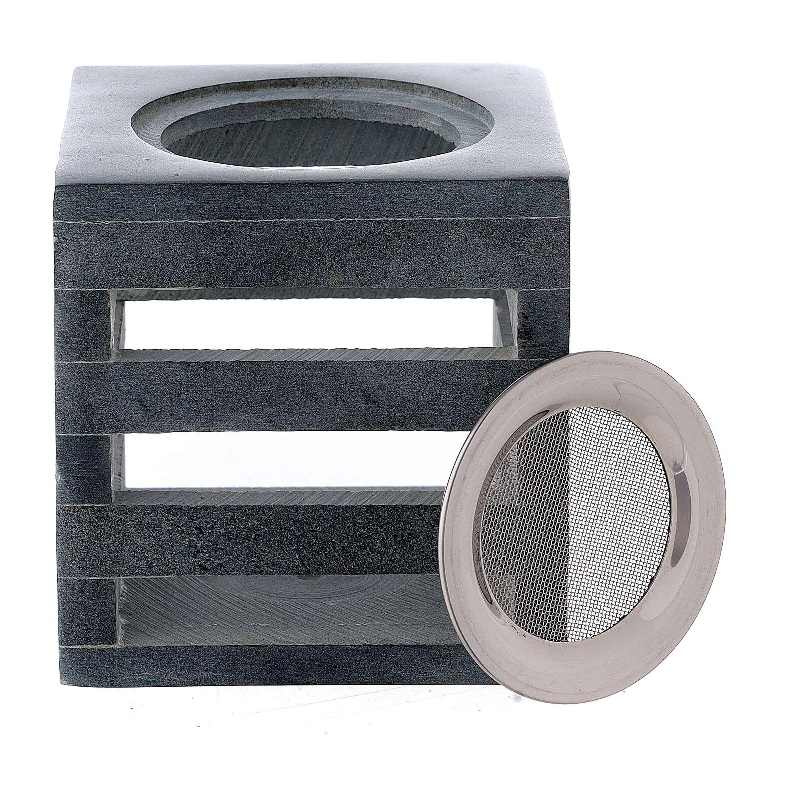 Brûle-encens pierre ollaire cube ouvertures en forme de lignes 8 cm 3