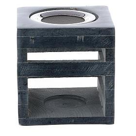 Brûle-encens pierre ollaire cube ouvertures en forme de lignes 8 cm s1