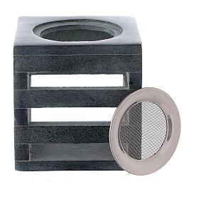 Brûle-encens pierre ollaire cube ouvertures en forme de lignes 8 cm s3