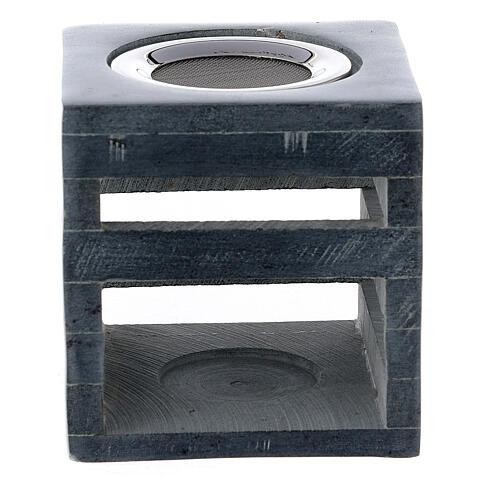 Brûle-encens pierre ollaire cube ouvertures en forme de lignes 8 cm 1
