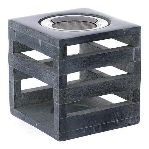 Brûle-encens pierre ollaire cube ouvertures en forme de lignes 8 cm 2