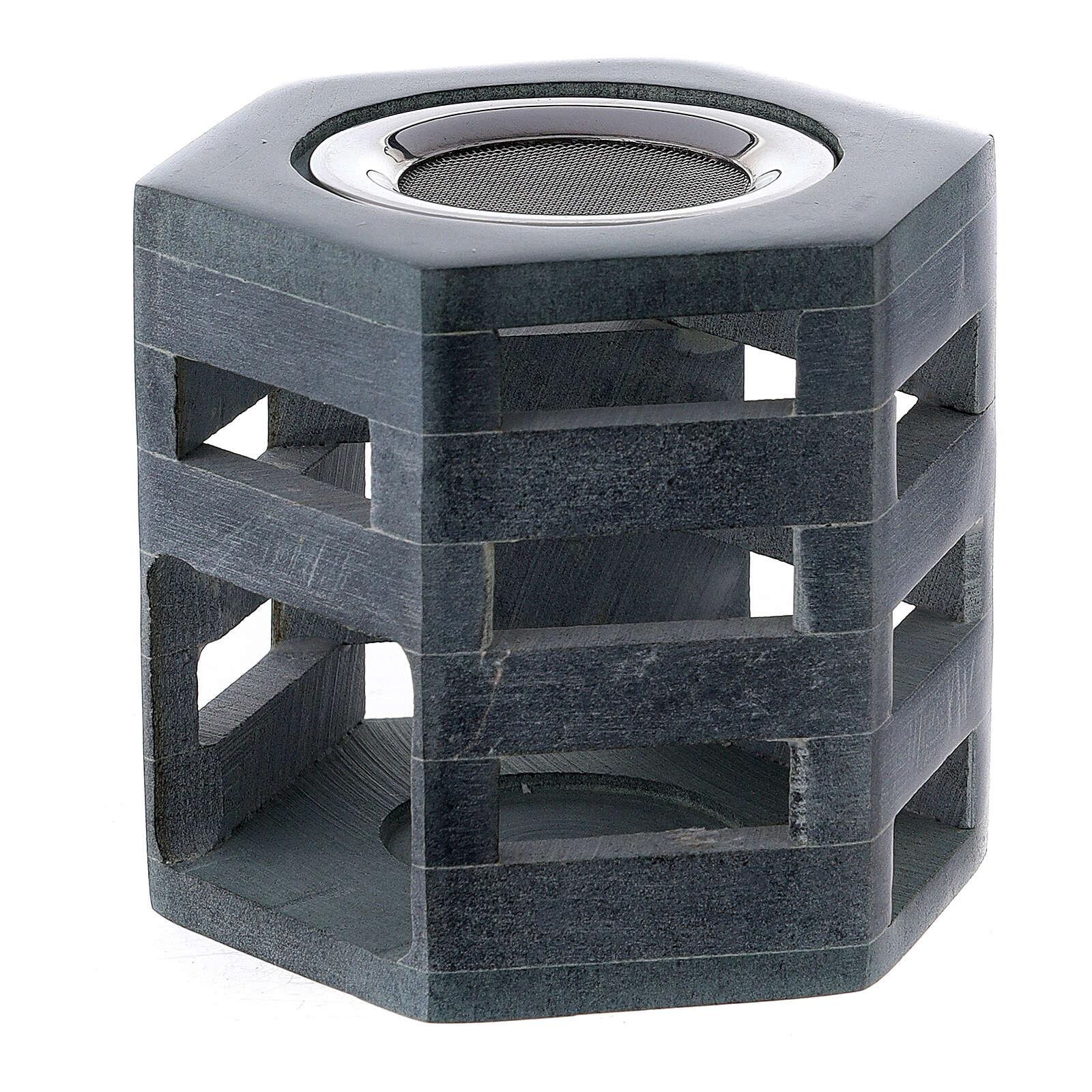 Bruciaincenso esagonale pietra ollare candelina 3