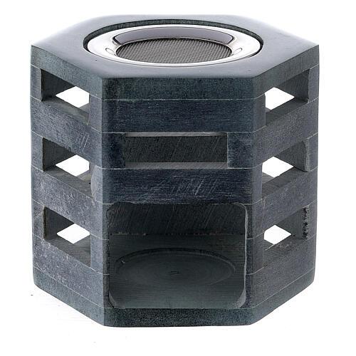 Bruciaincenso esagonale pietra ollare candelina 1