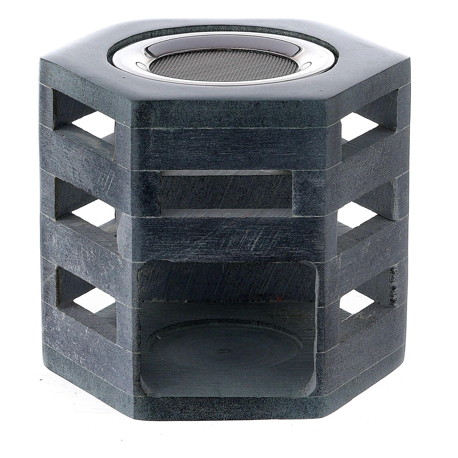 Hexagonal incense burner in soapstone 3