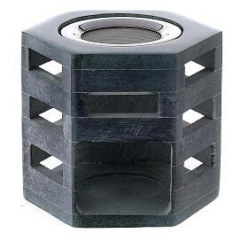 Hexagonal incense burner in soapstone s1