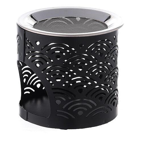Black metal cut-out incense burner 2 1/2 in 2