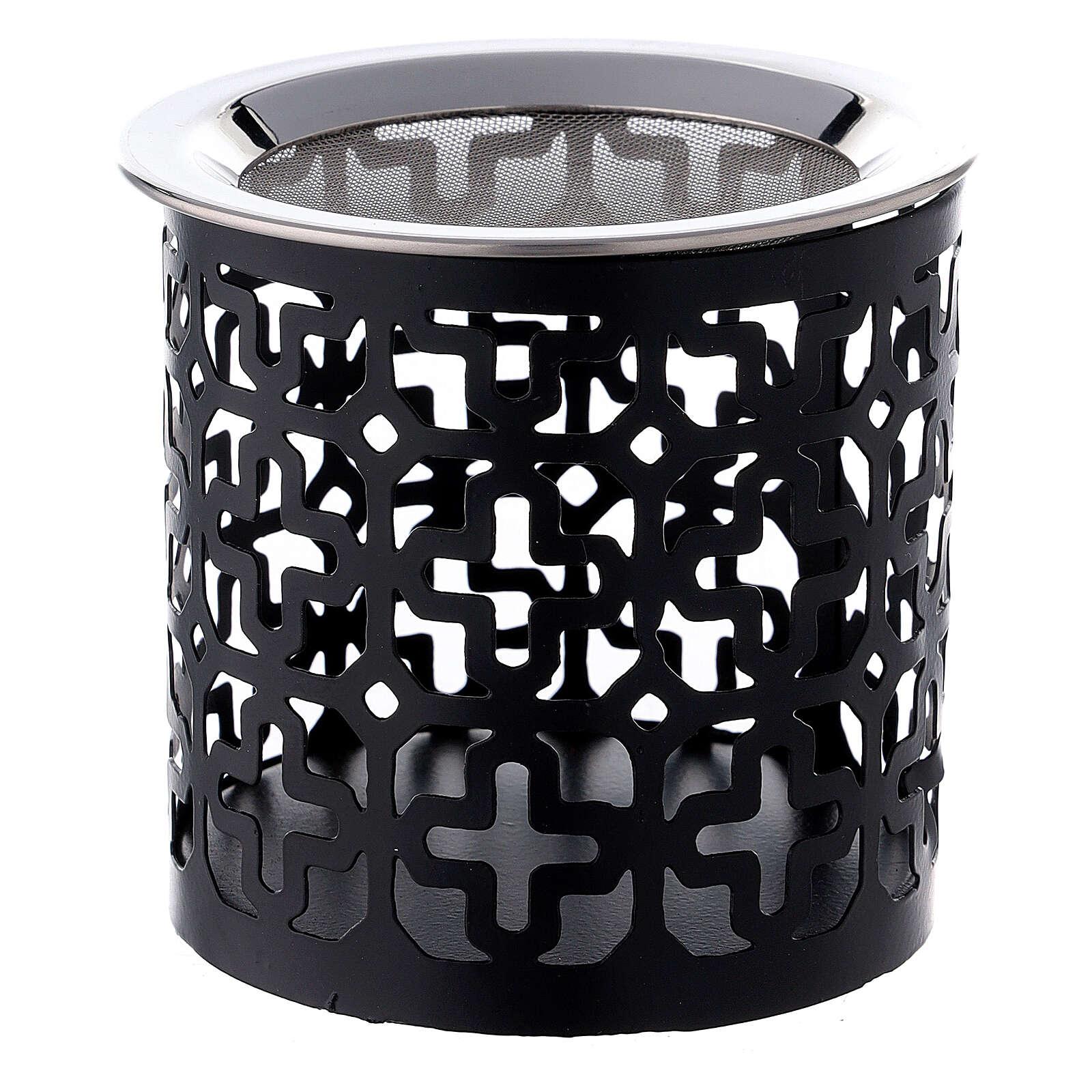Pebetero cruces perforadas hierro negro 8 cm 3