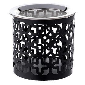 Pebetero cruces perforadas hierro negro 8 cm s1