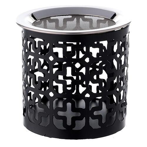 Pebetero cruces perforadas hierro negro 8 cm 1