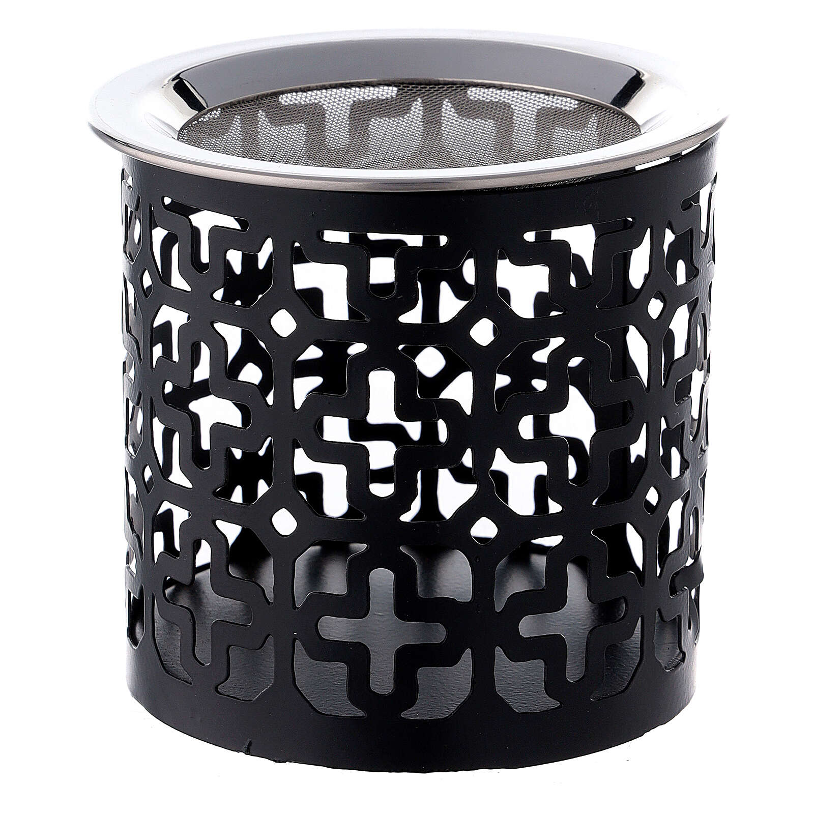 Black metal incense burner with cut-out crosses 3 in 3