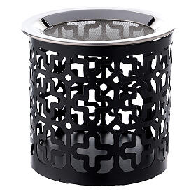 Black metal incense burner with cut-out crosses 3 in s1