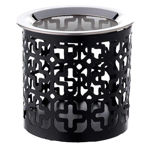 Black metal incense burner with cut-out crosses 3 in 1