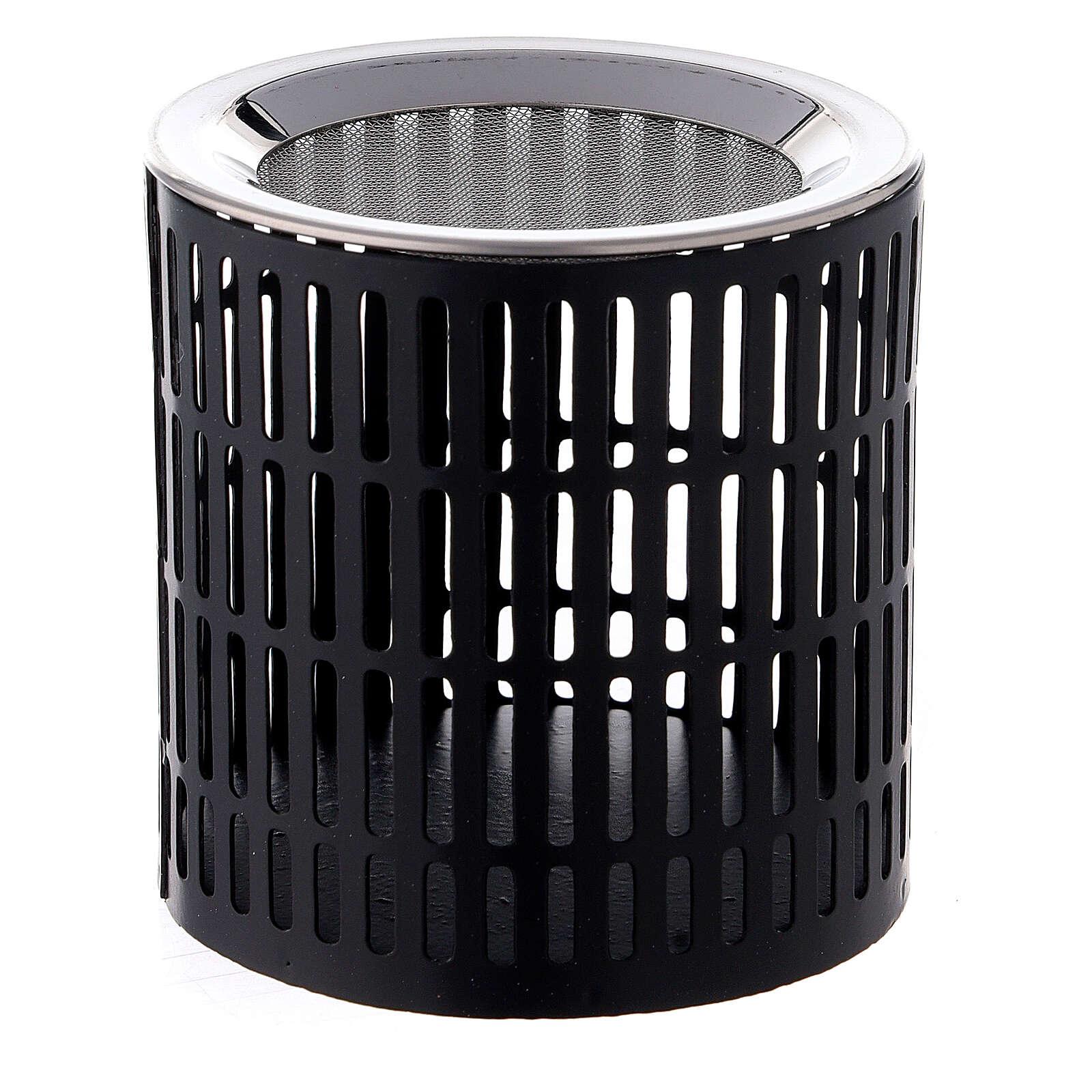 Brûle-encens rayures ajourées 8 cm métal noir 3