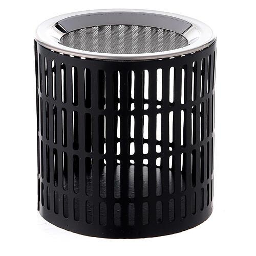 Brûle-encens rayures ajourées 8 cm métal noir 1