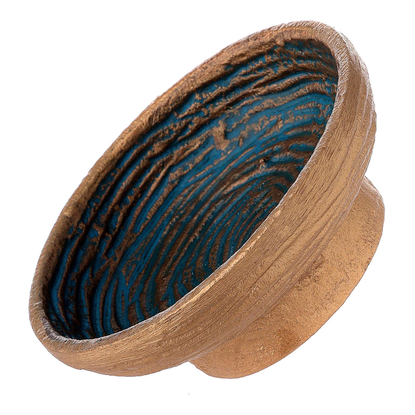 Ciotola per incenso dorata azzurra alluminio 12 cm 3