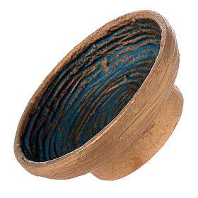 Ciotola per incenso dorata azzurra alluminio 12 cm s3