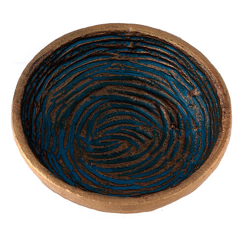 Incense bowl in gold painted aluminium with light blue decorations 4 3/4 in 2
