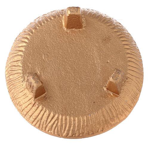 Copa para incienso 3 pies aluminio dorado bruñido 4