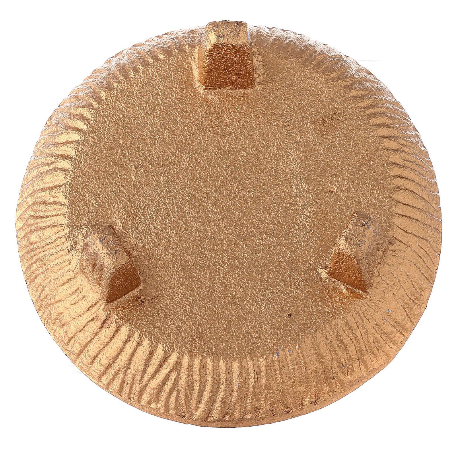 Coppa portaincenso 3 piedi alluminio dorato brunito 3