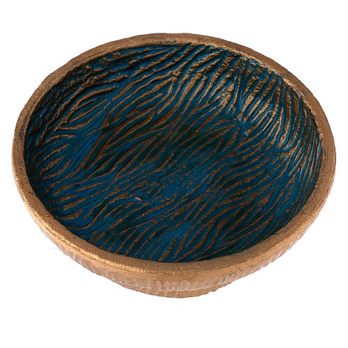 Copa para incienso 14 cm aluminio dorado azul 2