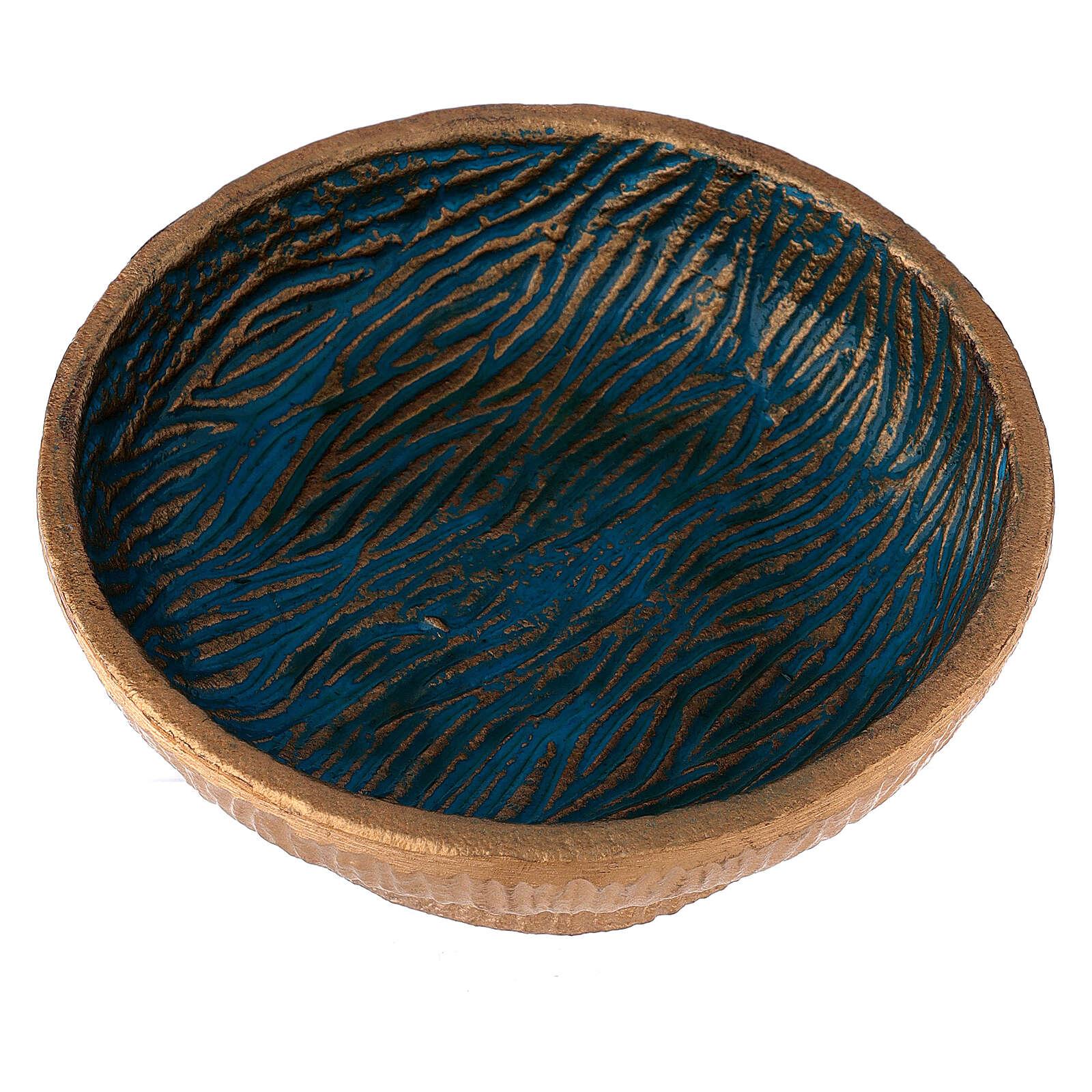 Coppa per incenso 14 cm alluminio dorato azzurro 3