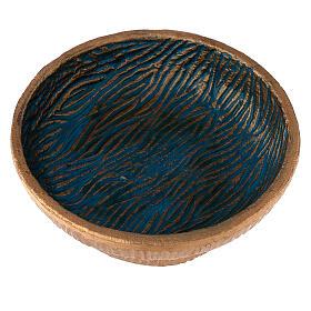 Coppa per incenso 14 cm alluminio dorato azzurro s2