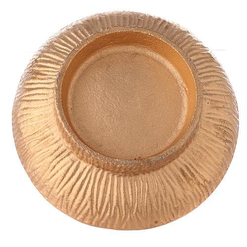 Coppa per incenso 14 cm alluminio dorato azzurro 4