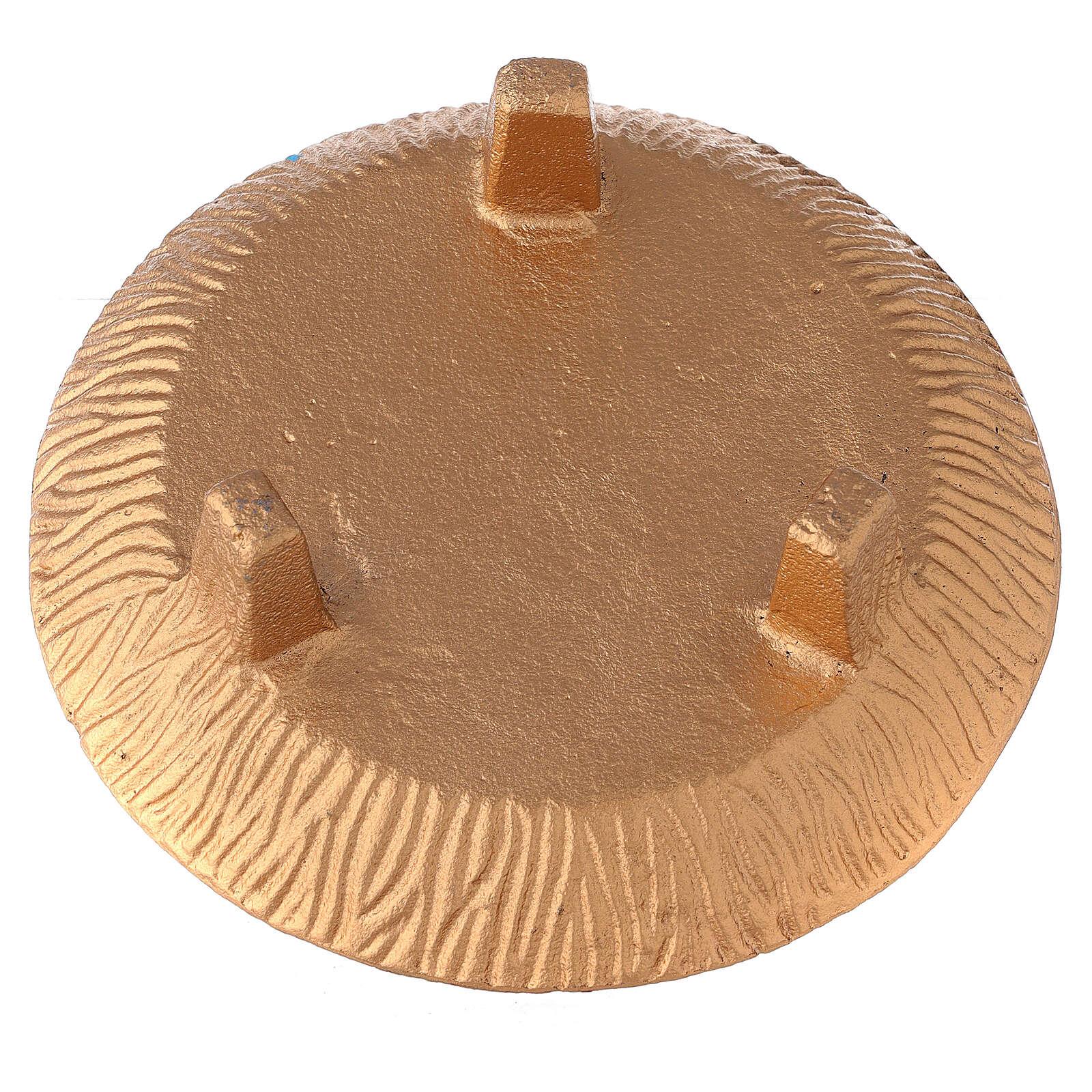 Escudilla para incienso 18 cm aluminio dorado bruñido 3