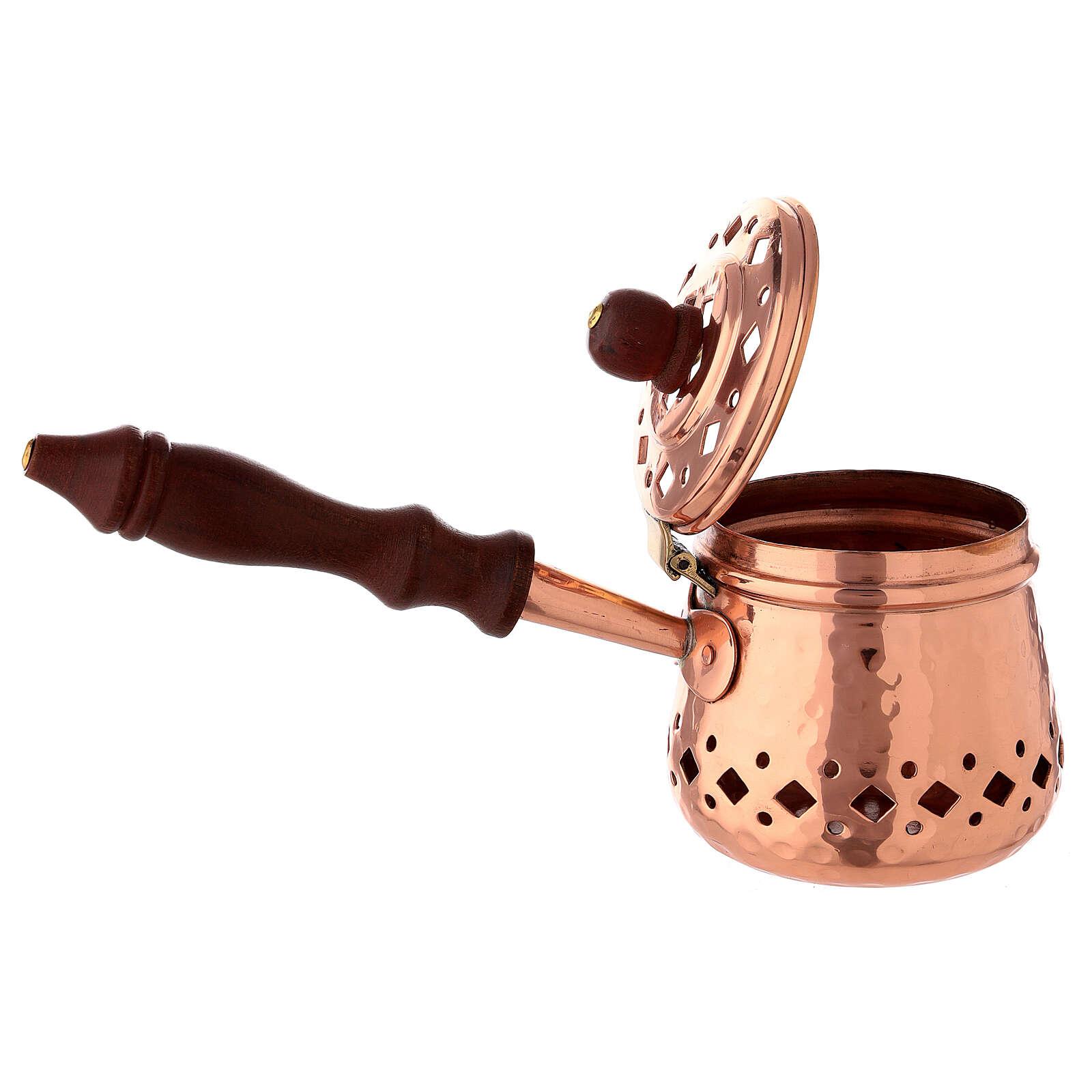 Sartén pequeño incienso cobre martillado madera 3
