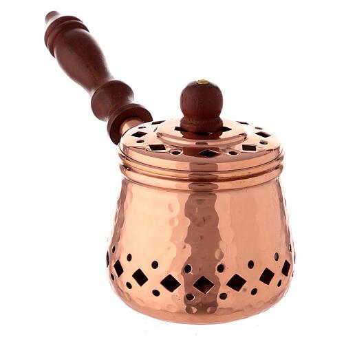 Sartén pequeño incienso cobre martillado madera 2