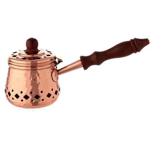 Padellino incenso rame martellato legno  1