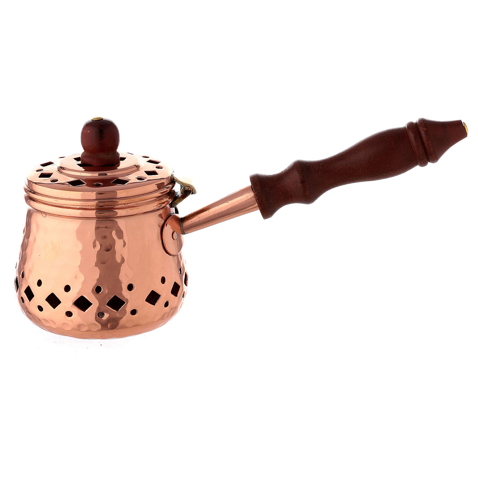 Hammered copper incense burner with wood handle 3