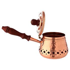Poêlon encens cuivre manche bois diamètre 9 cm s3