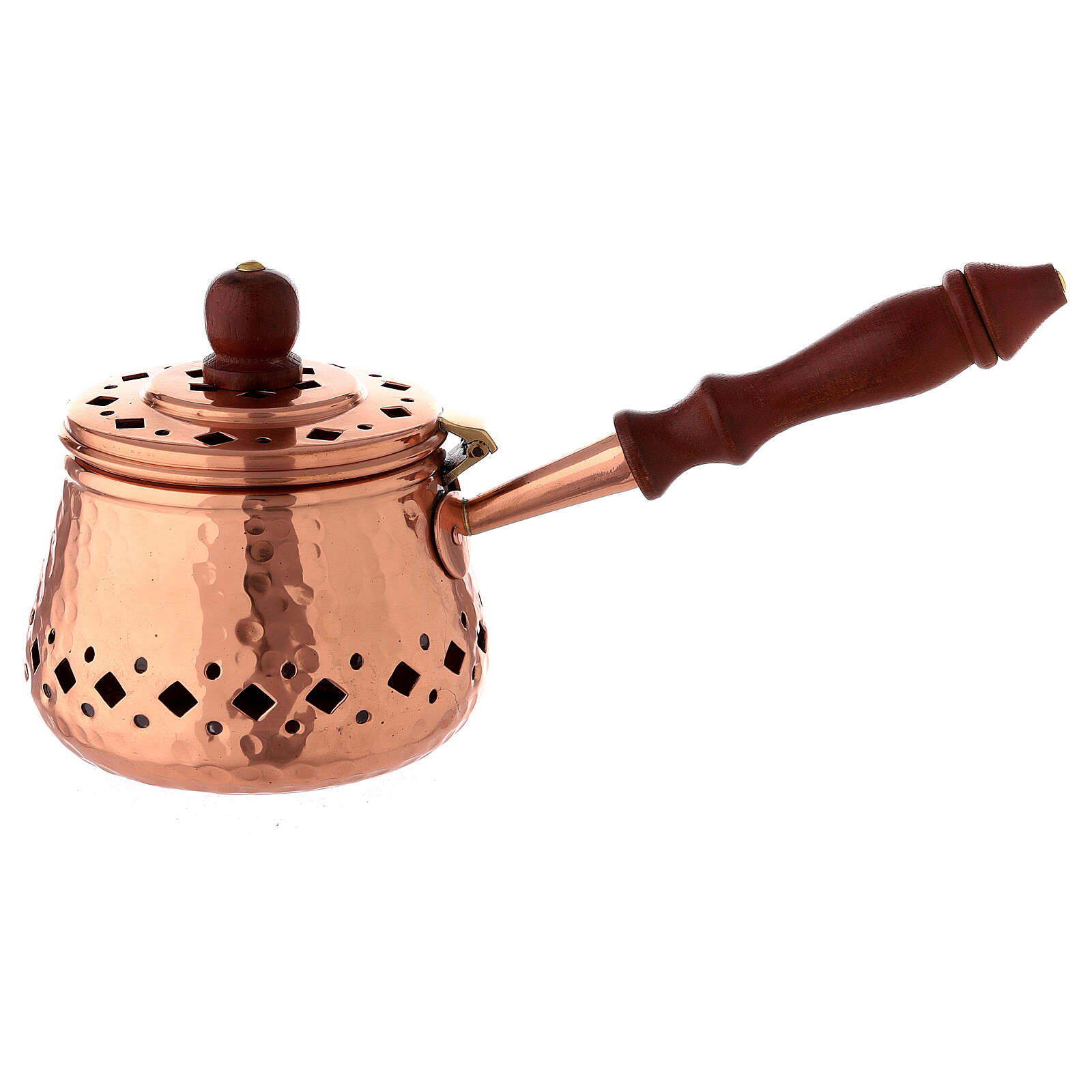 Engraved copper incense burner with wood handle 3 1/2 in diameter 3