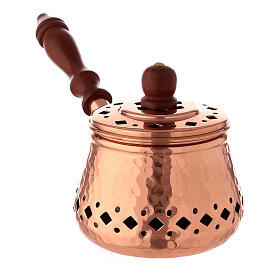 Engraved copper incense burner with wood handle 3 1/2 in diameter s2