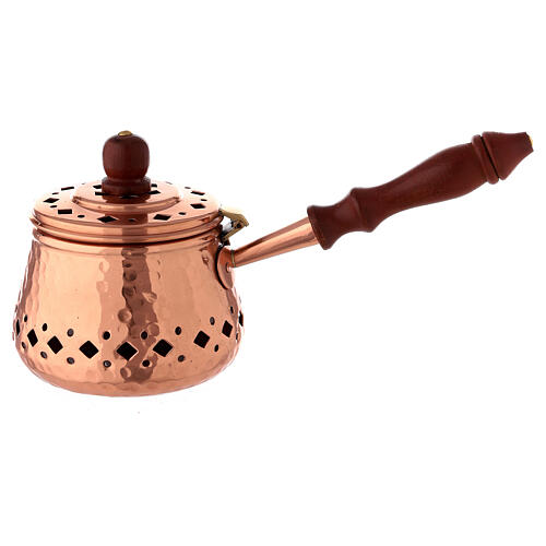 Engraved copper incense burner with wood handle 3 1/2 in diameter 1