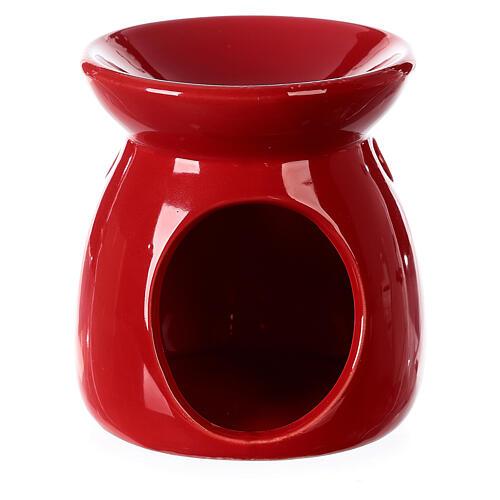 Pebetero esencias cerámica rojo 10 cm 1