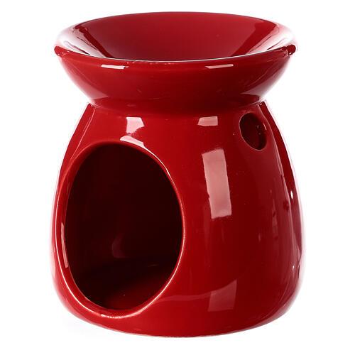 Pebetero esencias cerámica rojo 10 cm 3