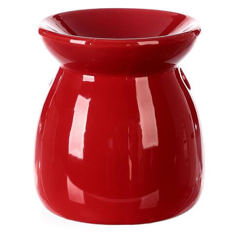 Pebetero esencias cerámica rojo 10 cm 4