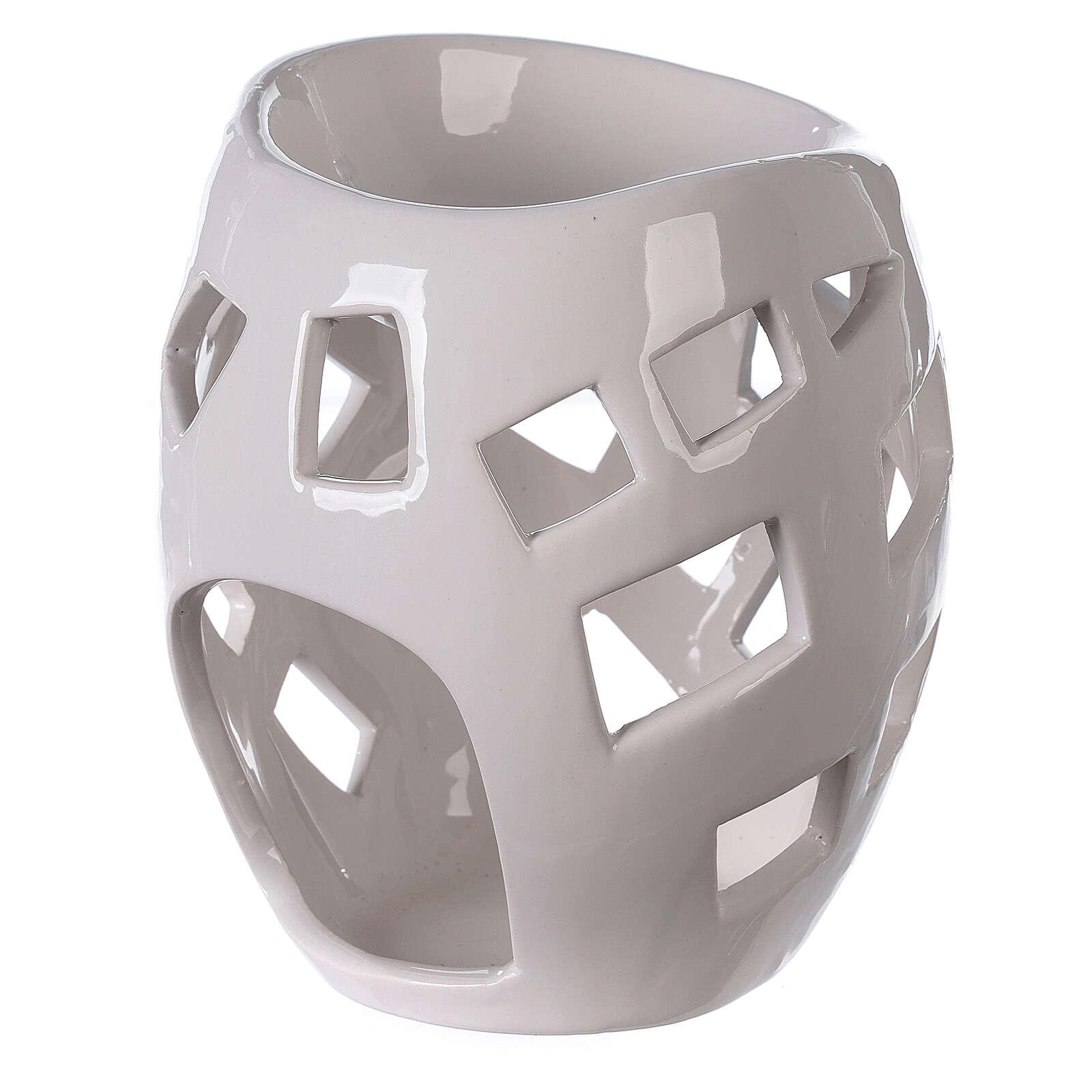 Pebetero esencias cerámica perforado blanco 9x12 cm 3