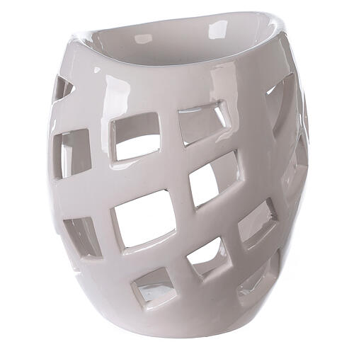 Pebetero esencias cerámica perforado blanco 9x12 cm 4