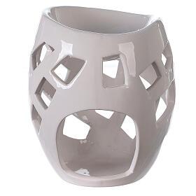 Brûle-parfum céramique ajourée blanche 9x12 cm s1